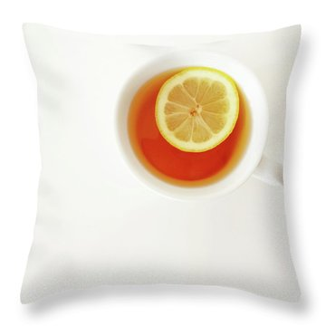 White Cup Of Tea With Lemon Throw Pillow