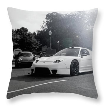 Throw Pillow featuring the photograph White Custom Nsx  by Joel Witmeyer