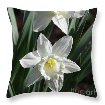 White Daffodils #2 Throw Pillow