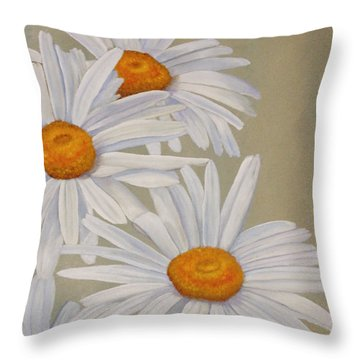 Throw Pillow featuring the painting White Daisies by Angeles M Pomata