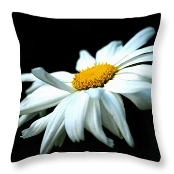 Throw Pillow featuring the photograph White Daisy Flower In The Wind by Alexander Senin