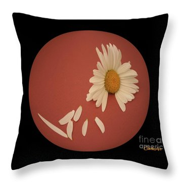 Encapsulated Daisy With Dropping Petals Throw Pillow