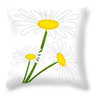 White Daisy Throw Pillow by Svetlana Sewell