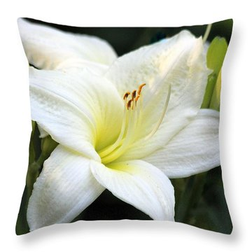 Throw Pillow featuring the photograph White Day Lily by Irina Hays