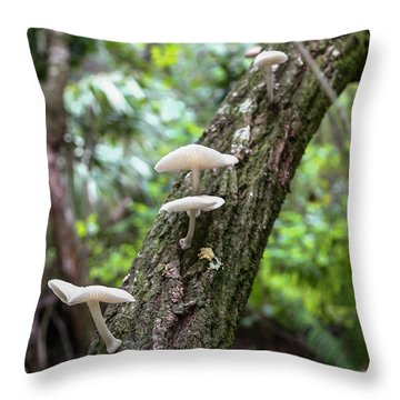 White Deer Mushrooms Throw Pillow by Christopher L Thomley