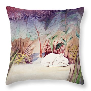 White Doe Dreaming Throw Pillow