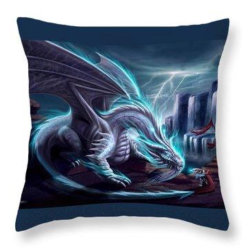 White Dragon Throw Pillow by Anthony Christou