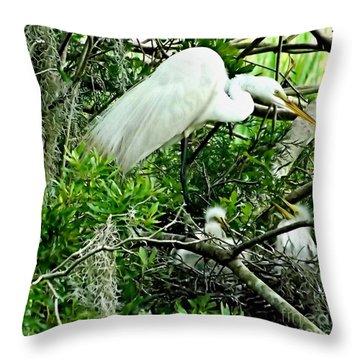 White Egret At Audubon Park  Throw Pillow
