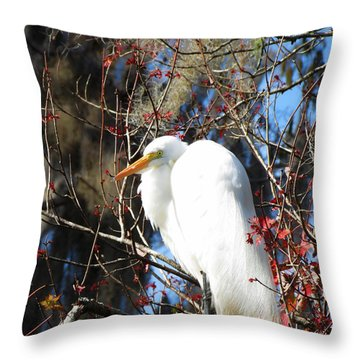 White Egret Bird Throw Pillow