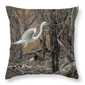 Throw Pillow featuring the photograph White Egret by David Bearden