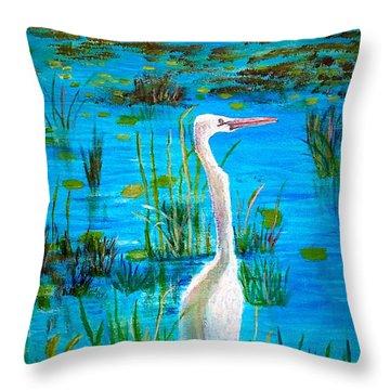 White Egret In Florida Throw Pillow