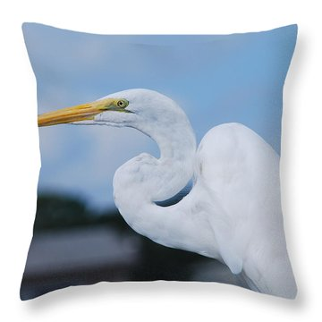 Throw Pillow featuring the photograph White Egret by Margaret Palmer