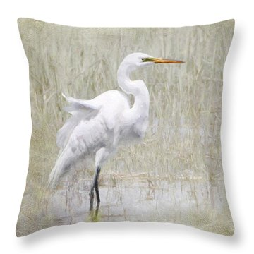 White Egret Rectangle Throw Pillow