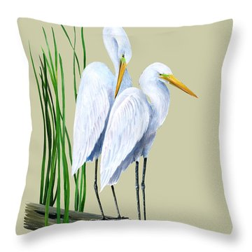White Egrets And White Lillies Throw Pillow by Kevin Brant