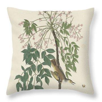 White-eyed Flycatcher Throw Pillow