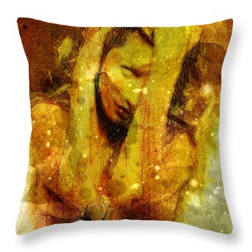White Eyes And Golden Hair Throw Pillow