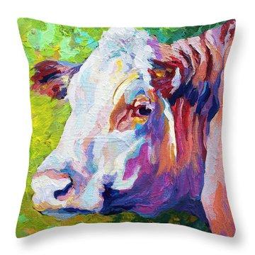 White Face Cow Throw Pillow