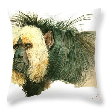 White Faced Saki Monkey Throw Pillow