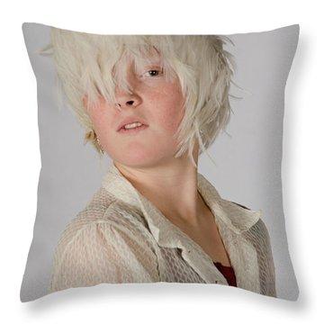 White Feather Wig Girl Throw Pillow