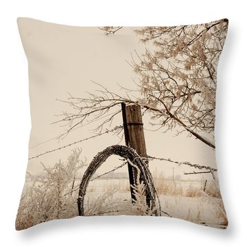 White Fence Throw Pillow
