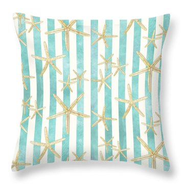 White Finger Starfish Watercolor Stripe Pattern Throw Pillow