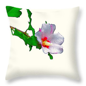 White Flower And Leaves Throw Pillow by Craig Walters