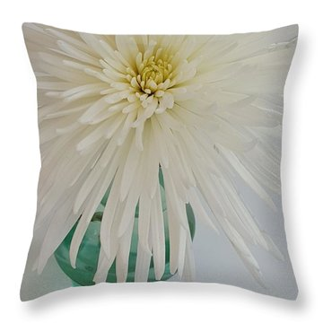 White Flower In A Vase By Jasna Gopic Throw Pillow by Jasna Gopic