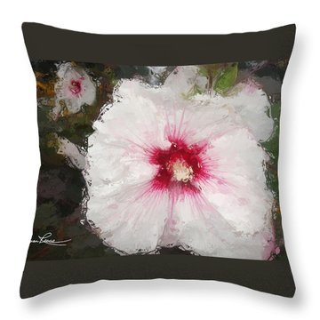 Throw Pillow featuring the painting White Flower by Joan Reese