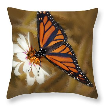 White Flower With Monarch Butterfly Throw Pillow