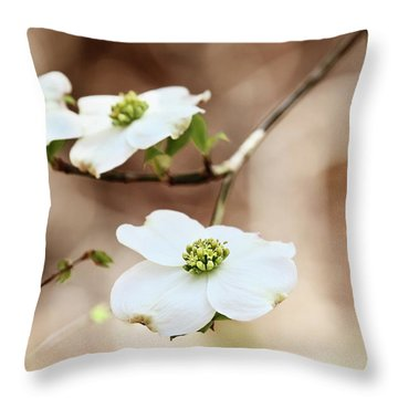 Throw Pillow featuring the photograph White Flowering Dogwood Tree Blossom by Stephanie Frey
