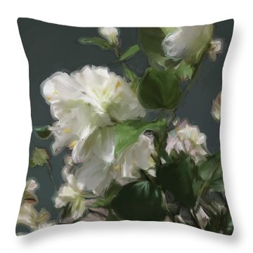 White Flowers 103 Throw Pillow