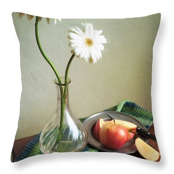 White Flowers And Red Apples Throw Pillow