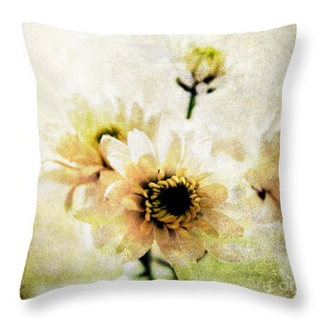White Flowers Throw Pillow by Linda Woods