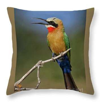 White Fronted Bee-eater Throw Pillow by Myrna Bradshaw