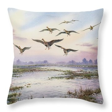 White-fronted Geese Alighting Throw Pillow by Carl Donner