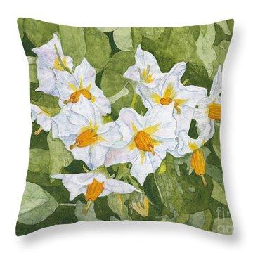White Garden Blossoms Watercolor On Masa Paper Throw Pillow
