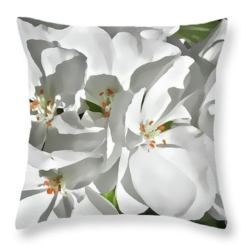 White Geraniums Throw Pillow
