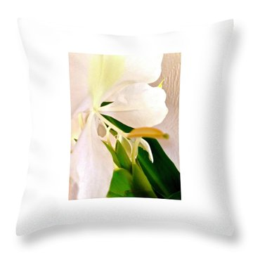 White Ginger Close Up Abstract Throw Pillow