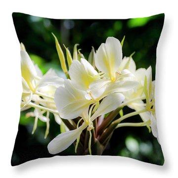 White Hawaiian Flowers Throw Pillow