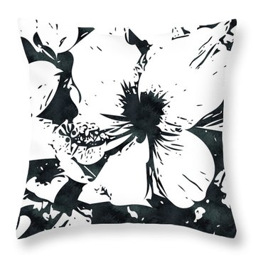 White Hibiscus- Art By Linda Woods Throw Pillow