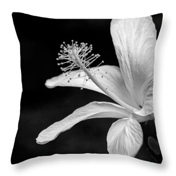 White Hibiscus Black And White Throw Pillow by Debbie Karnes