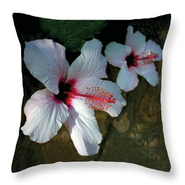 White Hibiscus Pair Throw Pillow