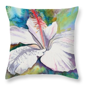 White Hibiscus Waimeae Throw Pillow by Marionette Taboniar