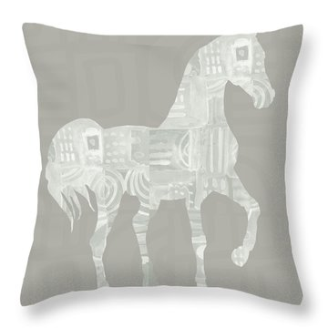 White Horse 1- Art By Linda Woods Throw Pillow