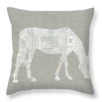 White Horse 2- Art By Linda Woods Throw Pillow