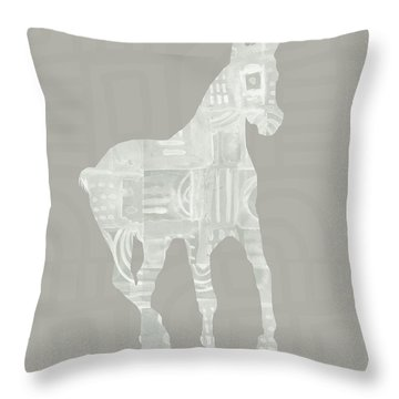 White Horse 3- Art By Linda Woods Throw Pillow