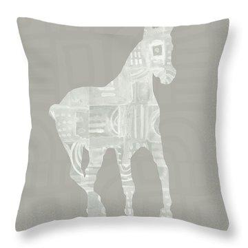 White Horse 3- Art By Linda Woods Throw Pillow