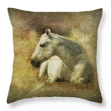 White Horse Art Throw Pillow