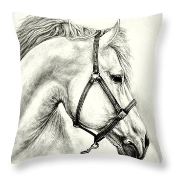 Throw Pillow featuring the drawing White Horse by Heidi Kriel