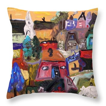 Throw Pillow featuring the painting White Horse In The Village Field by Mary Carol Williams